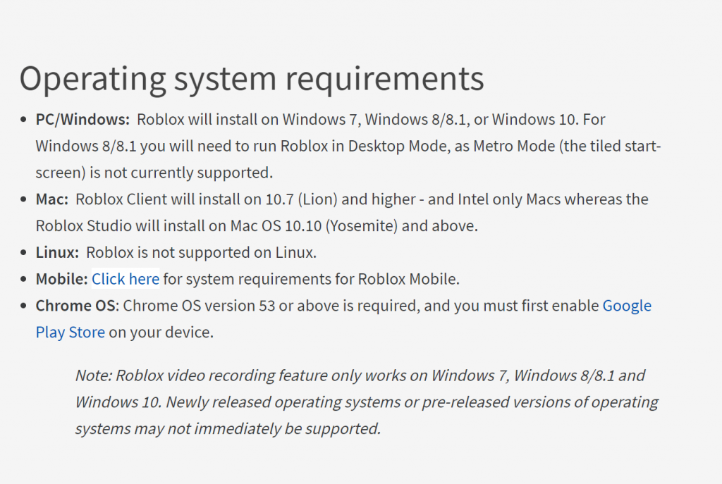 System Requirements for Roblox